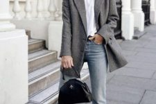 10 a white t-shirt, blue jeans, black reptile skin heels, a grey semi-fitting blazer and a catchy black bag