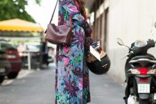 11 a bright floral coat, a purple bag and purple velvet shoes for a bold fall look