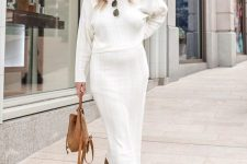 11 a chic white midi knit dress, a camel suede bag and tan suede slouchy boots for the fall