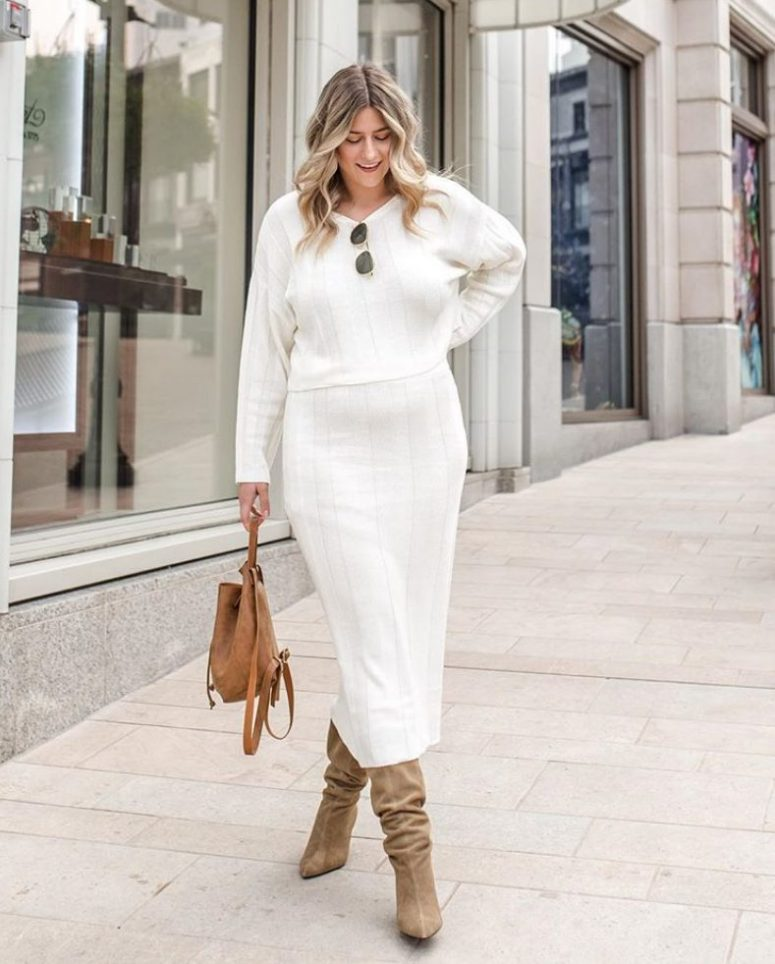 a chic white midi knit dress, a camel suede bag and tan suede slouchy boots for the fall