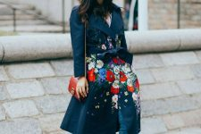 13 a dark floral trench will make your fall or winter look really outstanding and bold