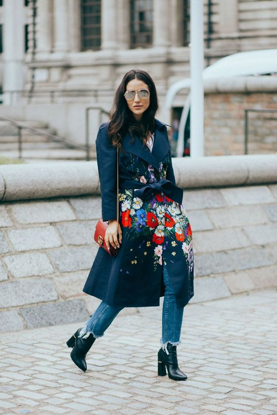 a dark floral trench will make your fall or winter look really outstanding and bold
