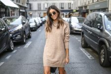 14 a tan mini sweater dress, brown slouchy boots, layered necklaces for a casual fall look
