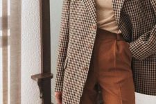 15 a tan top, an oversized plaid blazer, high waisted rust-colored pants for a comfy fall look