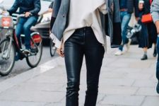 With beige loose shirt, black ankle boots and gray jacket
