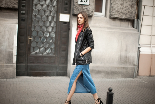 With black leather jacket, printed scarf and black lace up heeled shoes