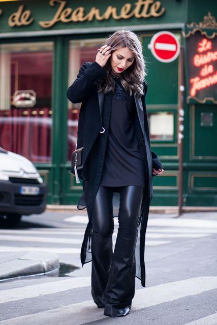 With black long shirt, blazer and mini bag