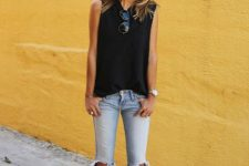 With black loose top and printed pumps