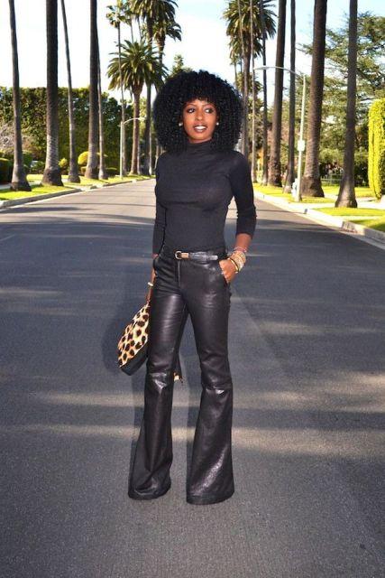 With black turtleneck, leopard bag and black belt