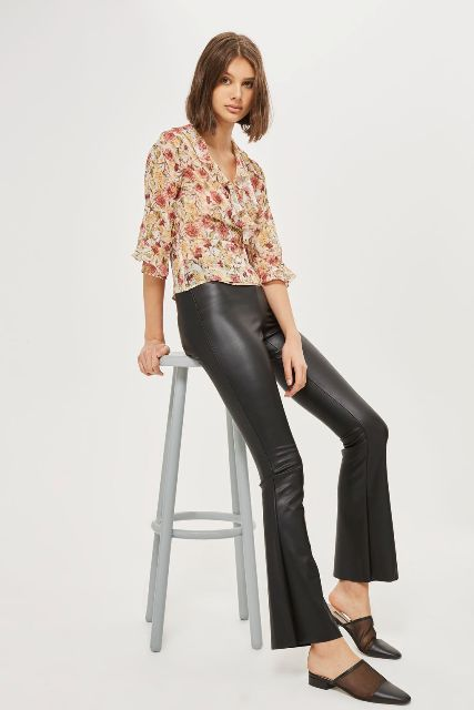 With floral printed blouse and black flat mules