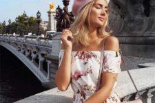 With floral printed off the shoulder dress and embellished bag