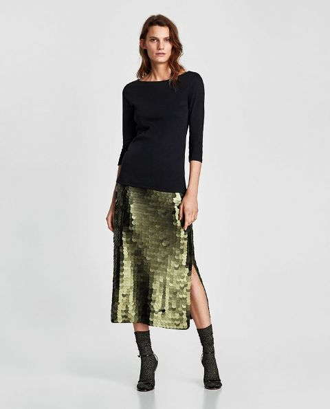With green midi skirt, socks and black ankle strap high heels