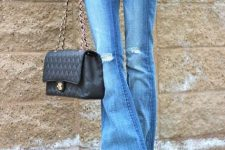 With labeled t-shirt, gray blazer, chain strap bag and black shoes