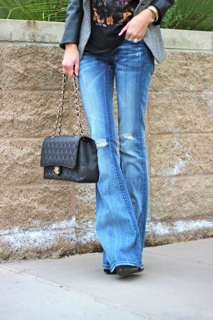 With labeled t shirt, gray blazer, chain strap bag and black shoes