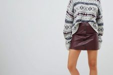 With printed loose sweater and white and black lace up platform boots