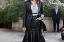 With printed shirt, black leather long blazer and printed shoes