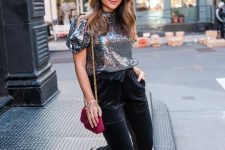 With silver blouse, marsala chain strap bag and embellished pumps