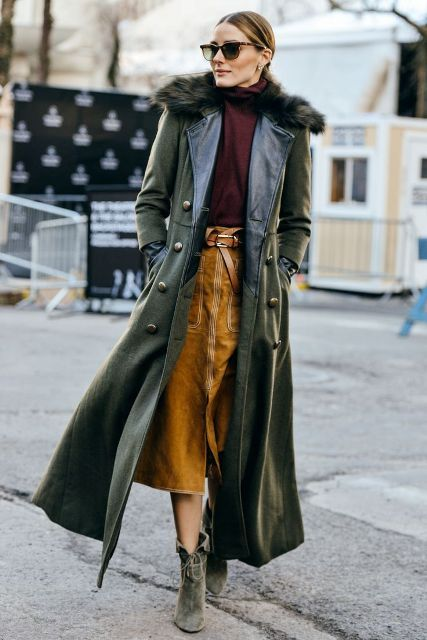 With turtleneck, brown belted midi skirt and suede ankle boots