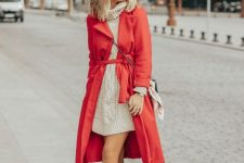 With turtleneck dress, beige ankle boots, chain strap bag and red belted coat