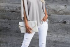 With white distressed pants, white leather clutch and ankle strap shoes