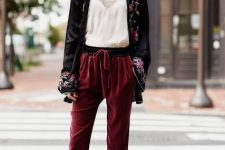 With white lace top, floral printed cardigan and black flat mules