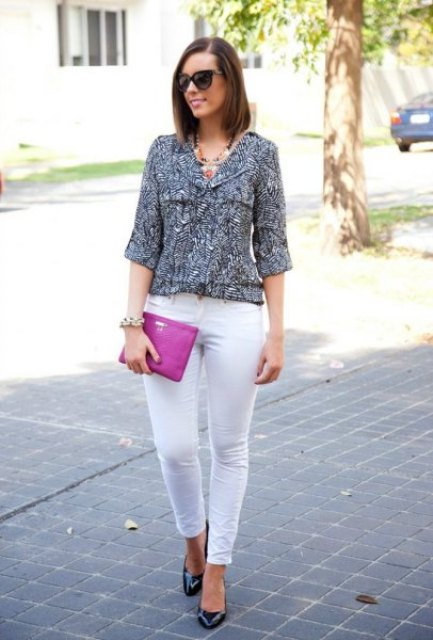 With white pants, hot pink clutch and black low heeled shoes