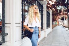With white shirt, chain strap bag and leather flat sandals