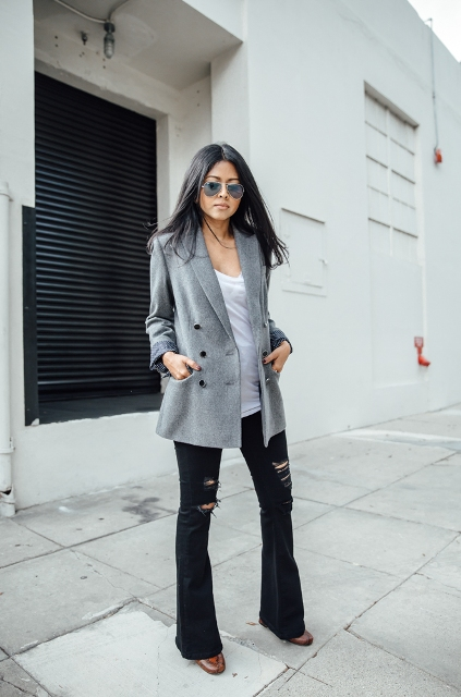 With white t shirt, gray blazer and brown shoes