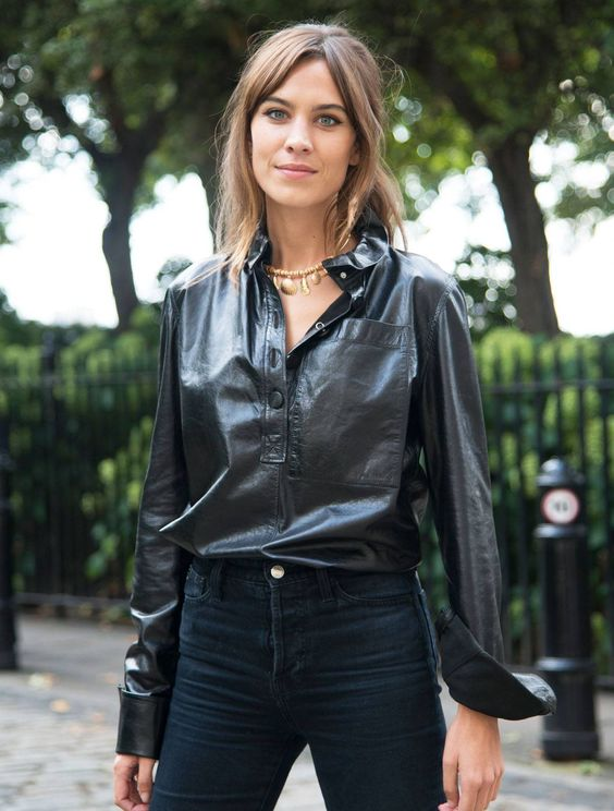 a trendy leather fall look
