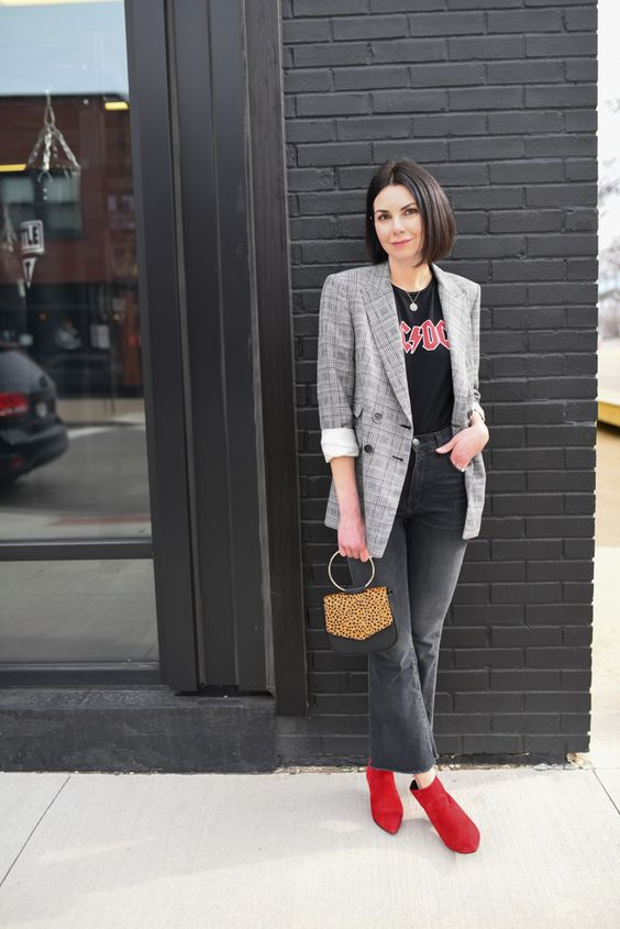 a black printed tee, graphite grey jeans, a plaid blazer, hot red booties and a leopard print bag