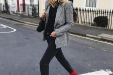 a black top, black jeans, a grey plaid blazer and hot red booties for this fall