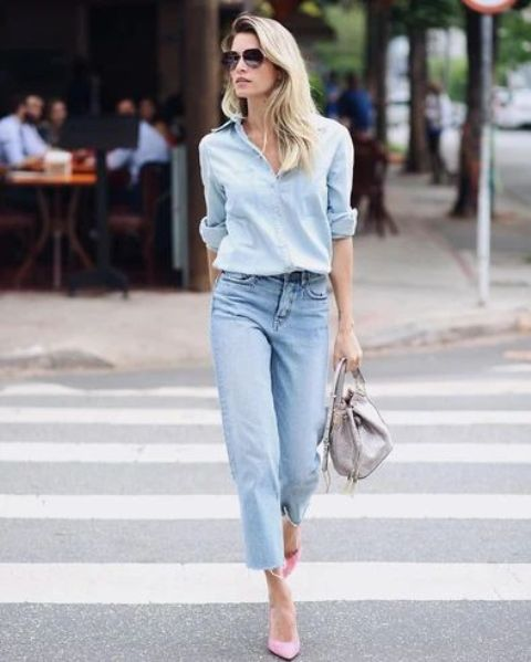 a chambray shirt, straight leg jeans, pink shoes and a grey bag for early fall