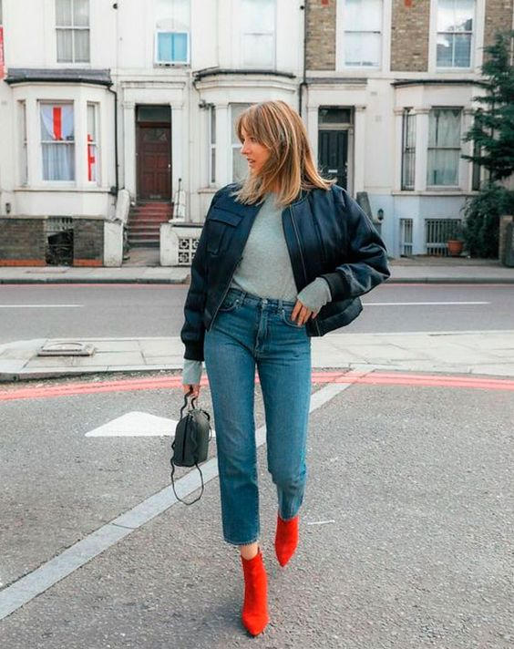 a cool fall look with red boots