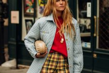 a colorful fall look with a red turtleneck, plaid pants, a powder blue quilted jacket and a clutch