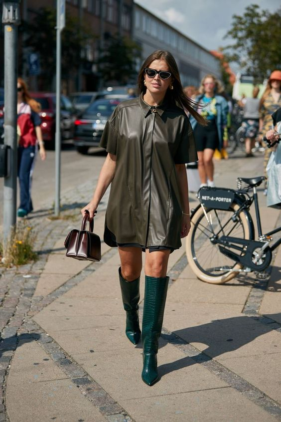 a green leather shirt, a black skirt, emerald boots and a burgundy bag for this fall
