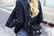 a grey tee, khaki pants, a black quilted jacket and a black bag for an everyday fall look