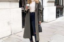 a neutral sweater, graphite grey jeans, a grey coat, brown snakeskin print booties and a grey bag