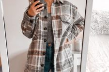 a printed top, high waisted blue skinnies, a grey plaid shirt jacket for an ultimate everyday look