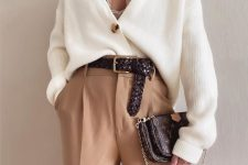 a stylish fall work outfit with a cardigan