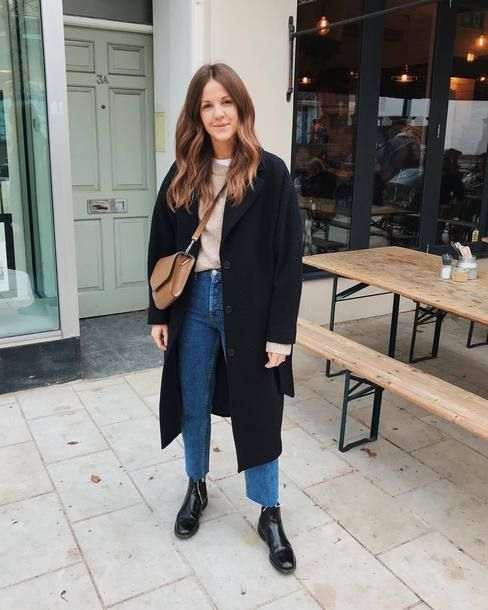 a tan sweater, blue straight leg jeans, a black coat, black booties and a brown crossbody bag