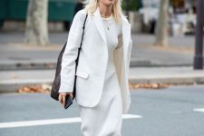 a white knit maxi dress, a white blazer, navy sneakers and a comfy tote for every day
