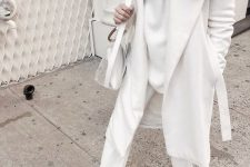 a white sweater, white pants, a coat, mules and a semi sheer bag for a lovely fall look