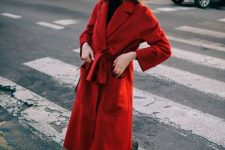 spruce up your total black look with a bright red midi coat like this one and enjoy the stylish combo