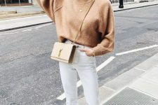 03 a tan sweater with a high neckline, white jeans, white printed mules and a tan crossbody bag for the fall