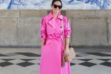 07 a hot pink trench, blue jeans, pink velvet mules and a tan bag for a bright fall look