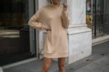07 a tan sweater mini dress, a white hat and snakeskin print booties for the fall