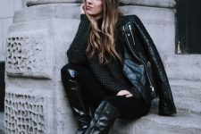 11 a total black look with a sweater, skinnies, riding boots, a black leather jacket