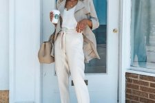 13 a white lingerie top, creamy pants, nude shoes, an off-white long blazer and a matching bag for work