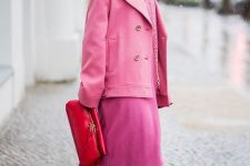 14 a super bold look with a pink dress, a pink and white skirt, red boots, a hot pink short coat and a red bag