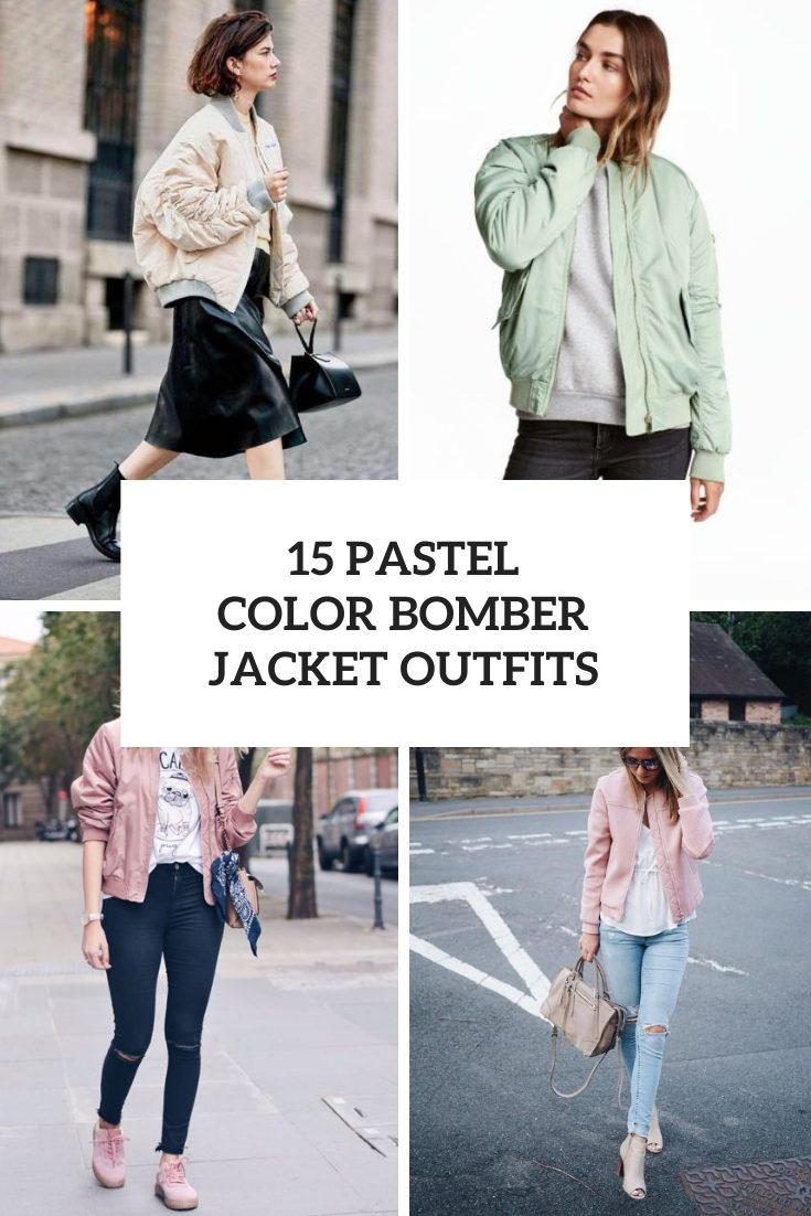 Outfits With Pastel Color Bomber Jackets
